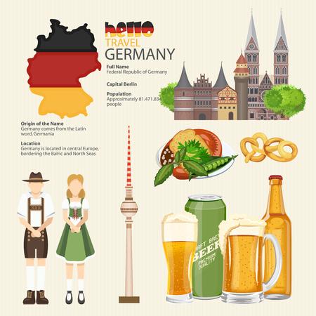 german sausage: Germany travel poster. Infographic. Trip architecture concept. Touristic background with landmarks, castles, monuments, german cuisine, beer, sausage, pretzel.