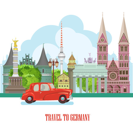 reizen Duitsland poster. Trip architectuur concept. Toeristische achtergrond met monumenten, kastelen, monumenten.