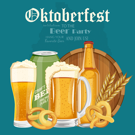 barley hop: Beer poster. Beer mugs with foam, bottle, wheet, leaves. Oktoberfest