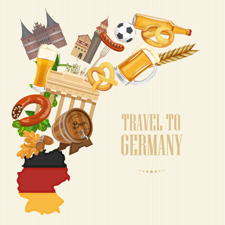 german tradition: Germany travel poster. Trip architecture concept. Touristic background with landmarks, castles, monuments.