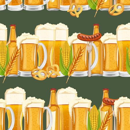 oktoberfest background: Seamless beer pattern. Oktoberfest background. Saint Patrick design.
