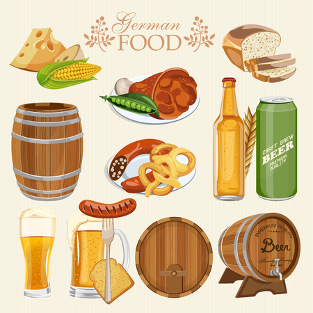 brewed: German cuisine set with beer mugs with foam, bottles, barrel, pork knuckle, pretzel, sausage, corn, green peas, wheat bread