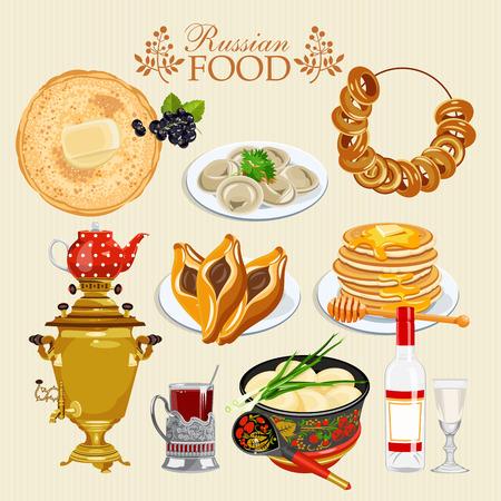 Russian vector food set. Stock Illustratie