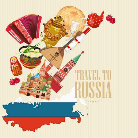russia map: Russia vector poster. Russian background with city landmark. Travel concept.