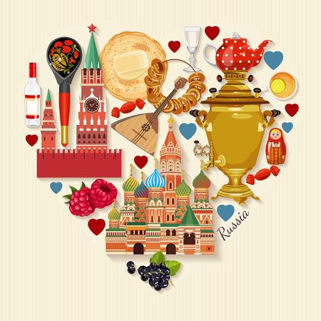ロシア ベクトル ポスター。街のランドマークとロシアの背景。旅行の概念。  イラスト・ベクター素材