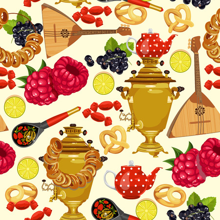 russian food: Seamless pattern with russian cuisine. Russian food vector background. Illustration