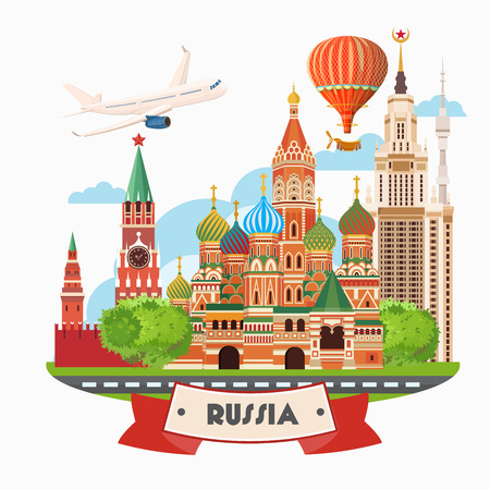 around: Russia vector poster. Russian background with city landmark. Travel concept.
