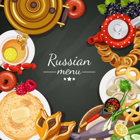 russian cuisine: Vector food illustration. Russian cuisine. Top view. Russia. Menu background