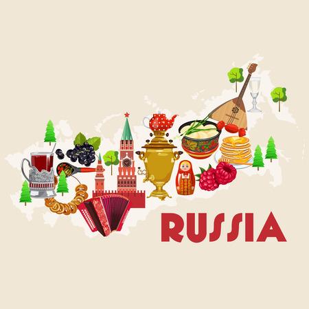 Russland Vektor-Plakat. Russische Hintergrund mit Wahrzeichen der Stadt. Travel-Konzept.
