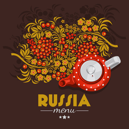 russian food: Vector food illustration. Russian cuisine. Top view. Russia. Menu background
