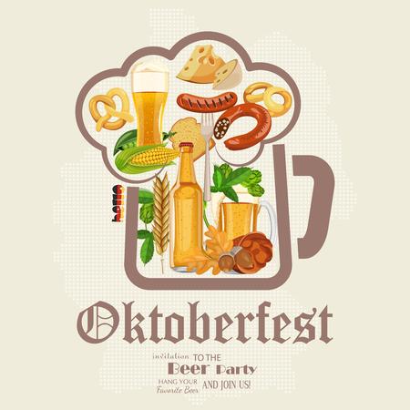 Beer poster. Beer mugs with foam, bottle, wheet, leaves. Oktoberfest - Text in German.