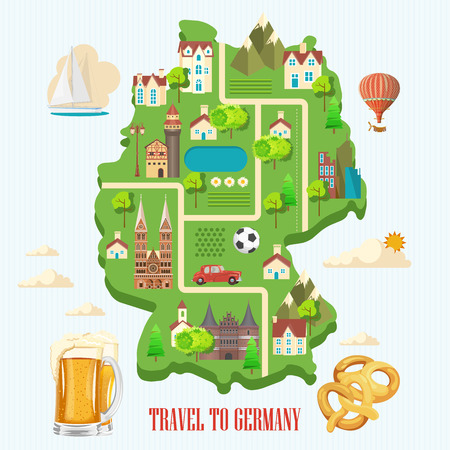 german sausage: Germany travel poster. Trip architecture concept. Touristic background with landmarks, castles, monuments, german cuisine, beer, sausage, pretzel.