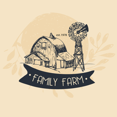 barns: Family farm, rural landscape - hand drawn illustration. Vector background in vintage style.