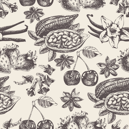 cocoa: Seamless pattern with fruit and spices in vintage style. Vector background with vanilla, cherry, strawberry, cocoa and anise for scrapbook, poster, postcard. Illustration
