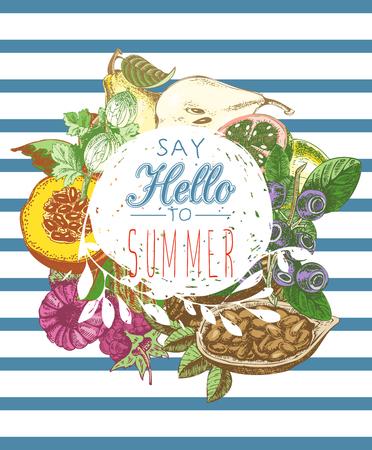 summer fruits: summer fruits. Healthy lifestyle illustration for print, web. Circle design element