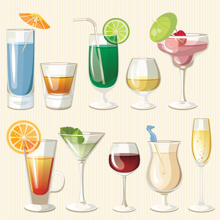 colada: illustration of popular alcoholic cocktails. Bloody Mary, Tequila Sunrise, Mojito, Cosmopolitan, Pina Colada, Caipirinha, Mai Tai, Margarita. Vintage style.