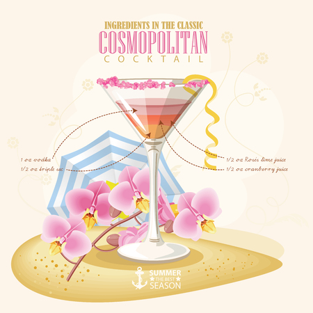 cosmopolitan: illustration of popular alcoholic cocktail. Cosmopolitan club alcohol shot.