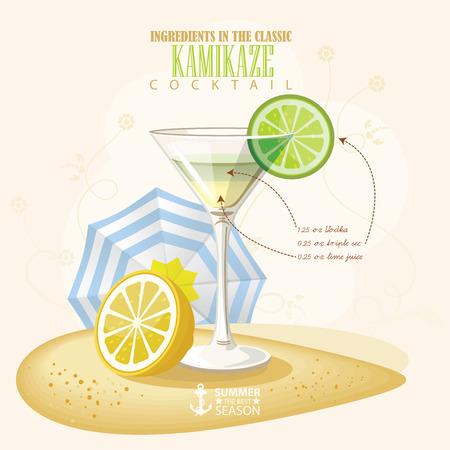 kamikaze: illustration of popular alcoholic cocktail. Kamikaze club alcohol shot. Illustration