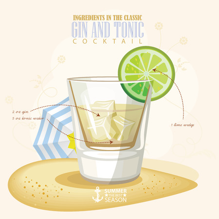 illustration of popular alcoholic cocktail. Gin and tonic club alcohol shot.