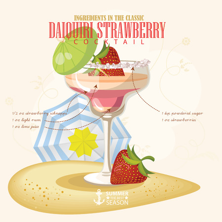 shot: illustration of popular alcoholic cocktail. Daiquiri strawberry club alcohol shot. Illustration