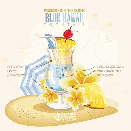 bebida: ilustração de coquetel alcoólico popular. Blue Hawaii álcool clube de tiro.
