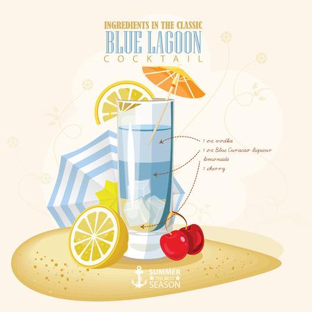 blue lagoon: illustration of popular alcoholic cocktail. Blue lagoon club alcohol shot.