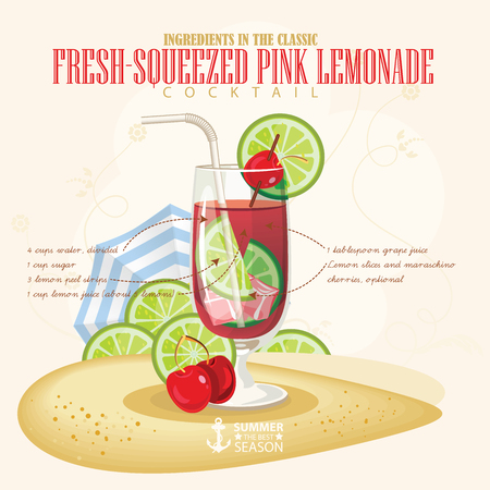 squeezed: illustration of popular alcoholic cocktail. Fresh squeezed pink lemonade club alcohol shot.