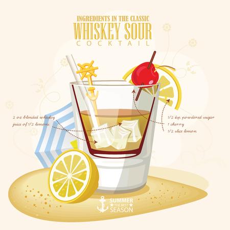 nonalcoholic: illustration of popular alcoholic cocktail. Whiskey Sour club alcohol shot. Illustration