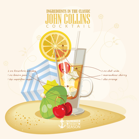 john: illustration of popular alcoholic cocktail. John Collins club alcohol shot. Illustration