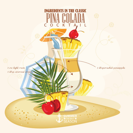 colada: illustration of popular alcoholic cocktail. Pina Colada club alcohol shot.