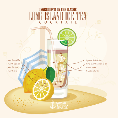 ice tea: illustration of popular alcoholic cocktail. Long Island Ice tea club alcohol shot.