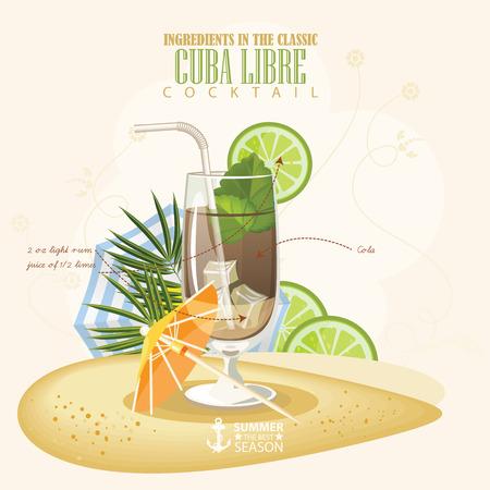 illustration of popular alcoholic cocktail. Cuba Libre club alcohol shot. Illustration