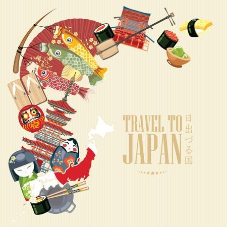 화려한 일본 여행 포스터 스톡 콘텐츠 - 60626361