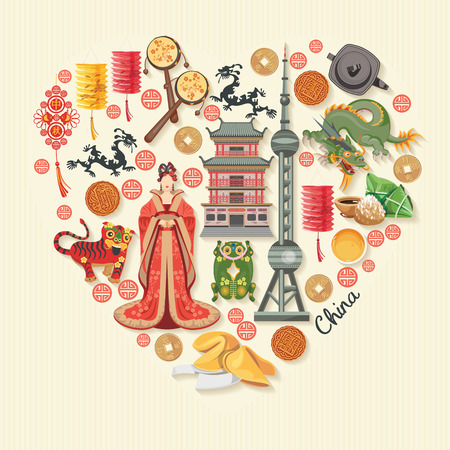 China travel vector illustration. Chinese set with architecture, food, costumes, traditional symbols in vintage style. Chinese text means China 矢量图像