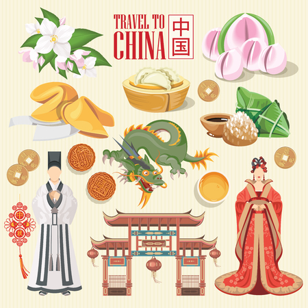 China travel vector illustration. Chinese set with architecture, food, costumes, traditional symbols in vintage style. Chinese text means China Vektoros illusztráció
