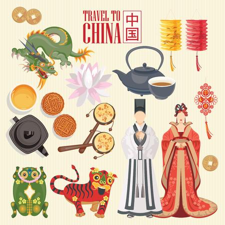 Ilustração em vetor viagens China. Conjunto chinês com arquitetura, comida, trajes, símbolos tradicionais em estilo vintage. Texto chinês significa China