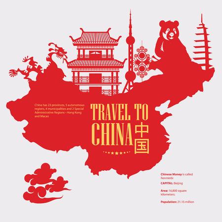 China reizen vector illustratie. Chinese set met architectuur, voedsel, kostuums, traditionele symbolen in vintage stijl. Chinese tekst betekent China