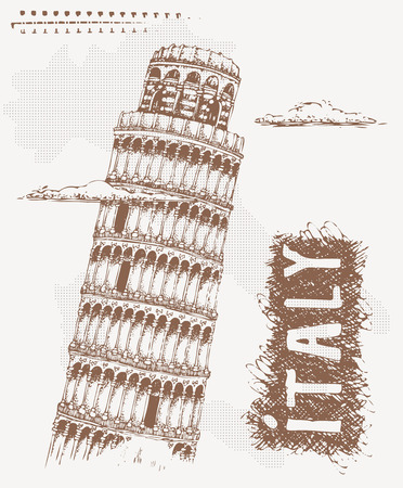 tshirt design: Sketch with Tower of Pisa. Hand Drawn Vector Illustration with text Italy and Pisa Tower. Tshirt design