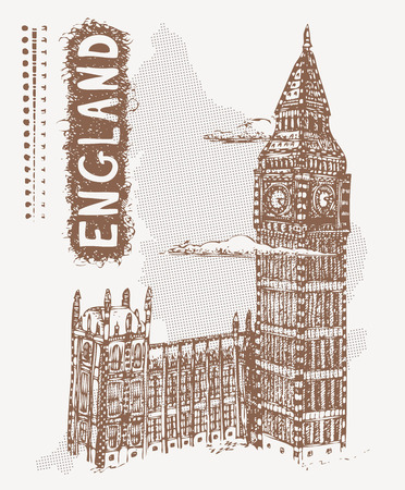 houses of parliament   london: Sketch Palace of Westminster and Big Ben, England. Vector illustration of popular place of London, United Kingdom. Tshirt design with hand drawn Palace of Westminster and text England