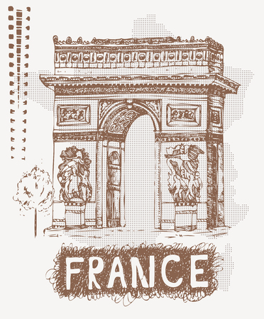 Sketch Triumphal Arch in Paris, France. Vector illustration in vintage style. Tshirt design with hand drawing Triumphal Arch and text France. Illustration