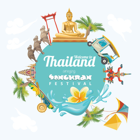 Songkran Festival in Thailand. Thaise vakantie. Cartoon Vector illustratie Stock Illustratie