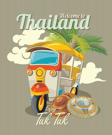 タイのバンコクでタイの伝統的なトゥクトゥクのトゥクトゥク。3 つの車輪車。ベクトル図