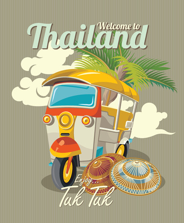 Thaise traditionele Tuk Tuk in Bangkok van Thailand. Drie wielen auto. Vector illustratie Stock Illustratie
