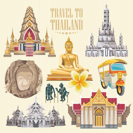 タイのランドマークを旅行します。タイのベクトルのアイコン。タイの民族的要素を持つ休暇ポスター