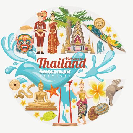 drench: El festival de Songkran en Tailandia. días de fiesta de Tailandia. Vector ilustración de dibujos animados