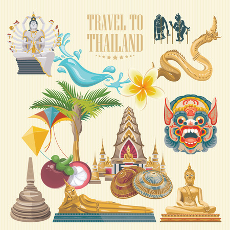 bangkok temple: Travel Thailand landmarks. Thai vector icons. Vacations poster with thai ethnic elements