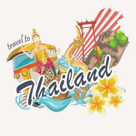 Reis oriëntatiepunten Thailand. Thaise vector iconen. poster met Thaise etnische elementen vakanties