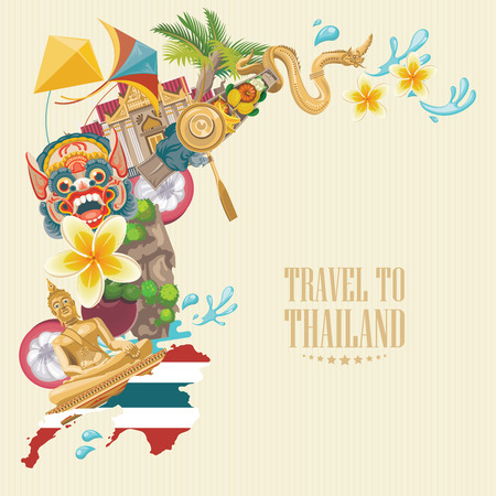 exotic dancer: Travel Thailand landmarks. Thai vector icons. Vacations poster with thai ethnic elements