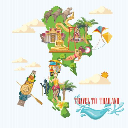 Reis oriëntatiepunten Thailand. Thaise vector iconen. poster met Thaise etnische elementen vakanties Stockfoto - 61589355