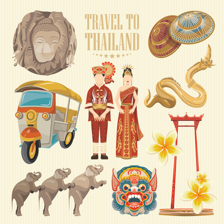 Travel Thailand landmarks. Thai vector icons. Vacations poster with thai ethnic elements